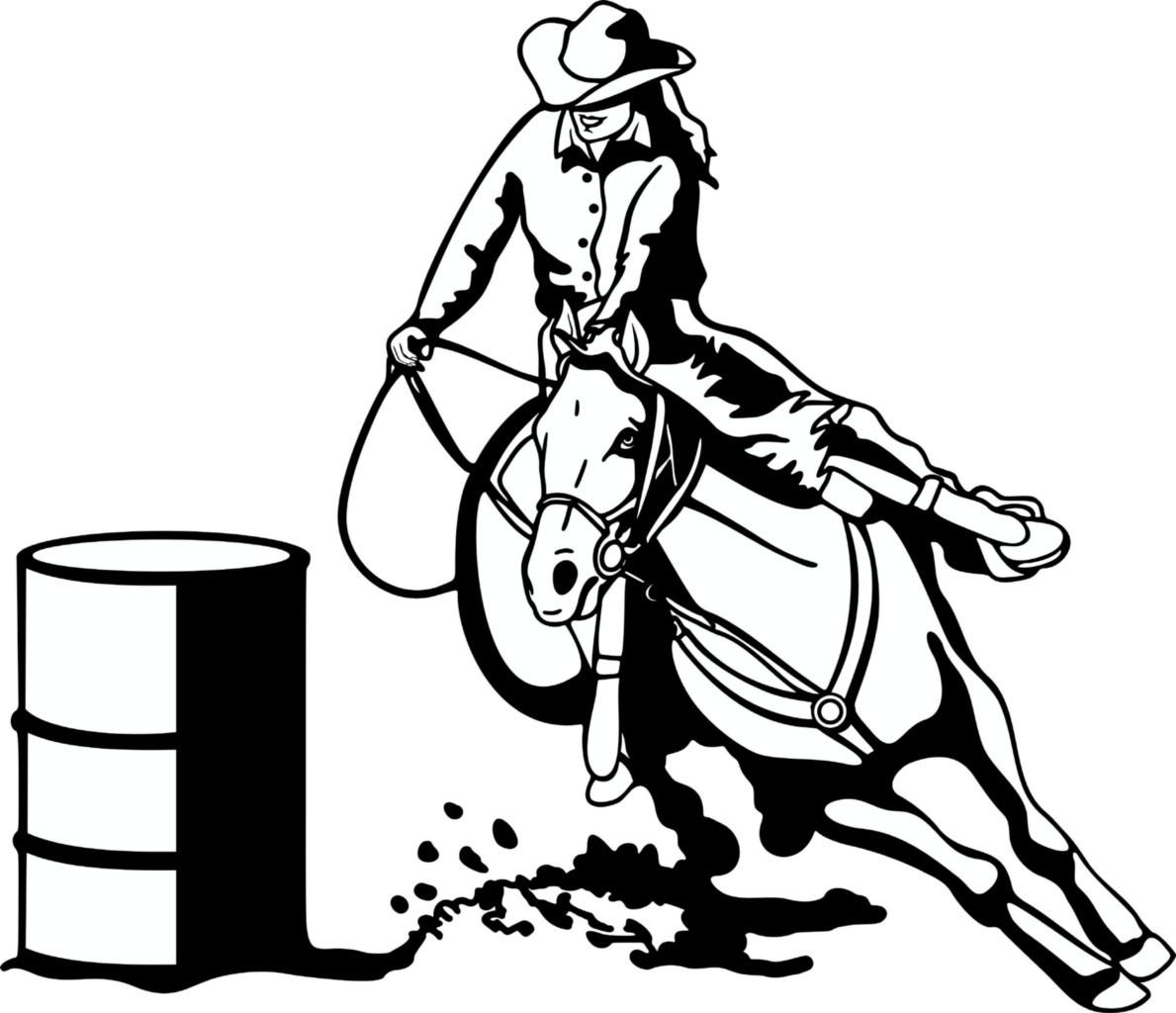 Free Barrel Racing Horse Clipart Image