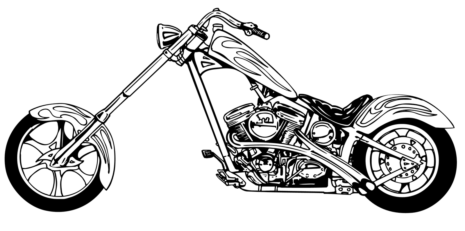 Vintage Motorcycle Clipart Black And White
