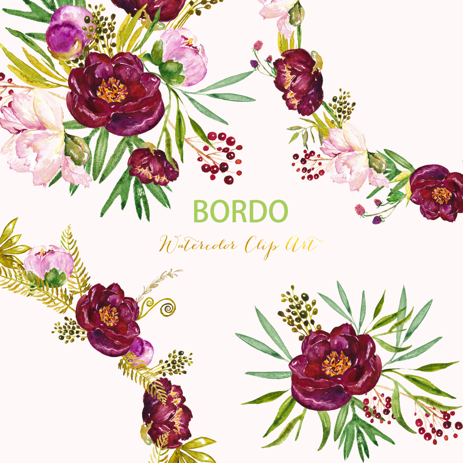 Burgundy and blush floral wreath clipart