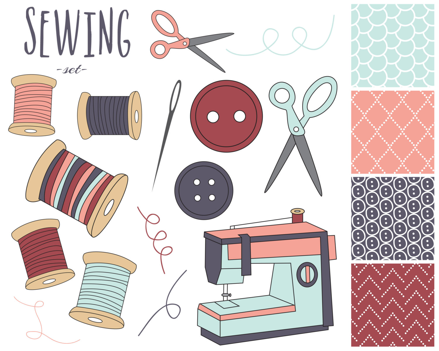 hight resolution of sewing kit clipart