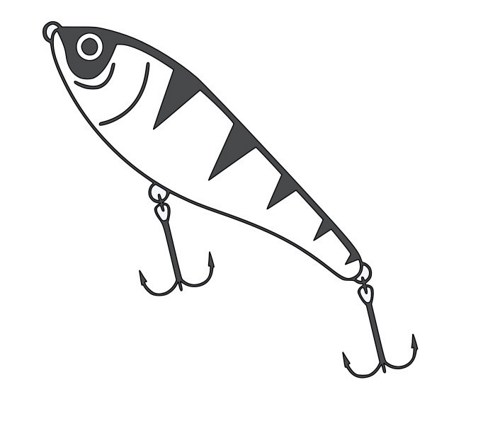 Fishing lure clipart black and white
