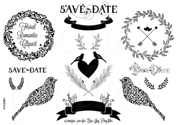 free romantic wedding cliparts