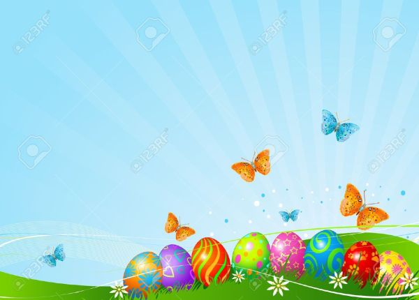 Clip Art Easter Eggs Background