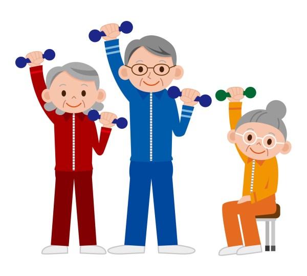 Elderly People Exercising Clip Art