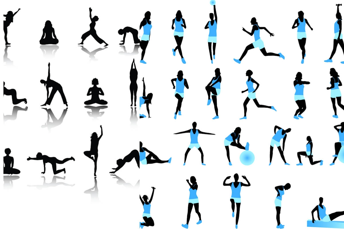 hight resolution of exercise border clipart
