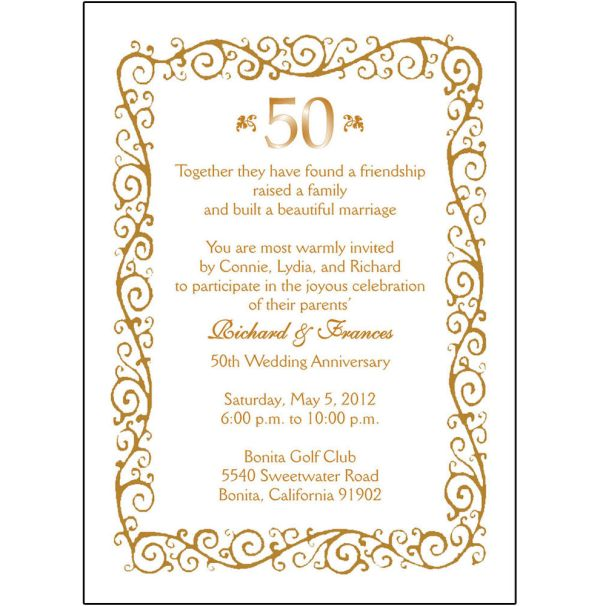 free 50th wedding anniversary invitation