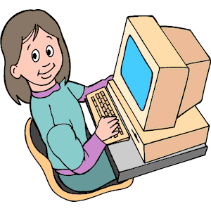 Girl At Computer Clipart