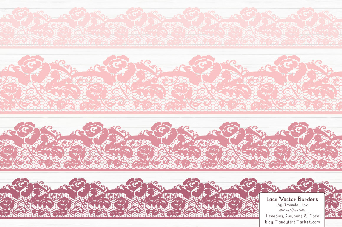 Lace Border Clipart In Soft Pink
