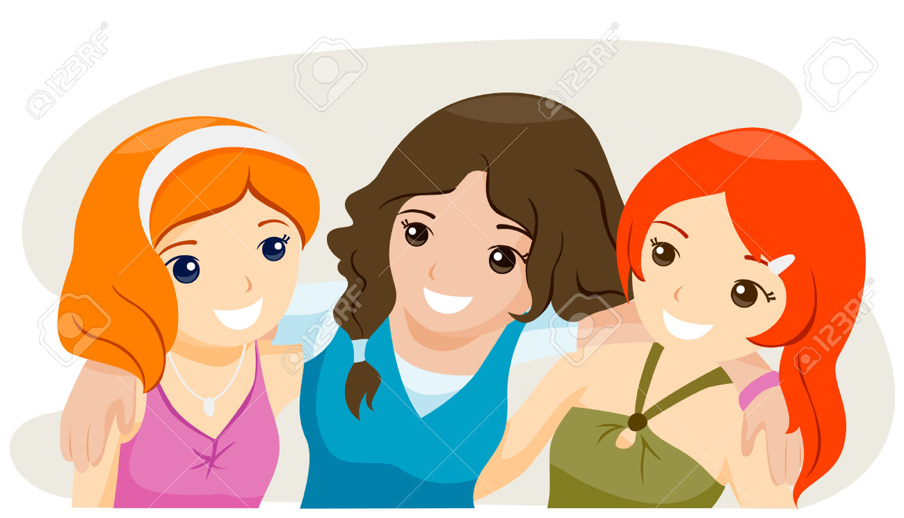 hight resolution of girl friend clipart