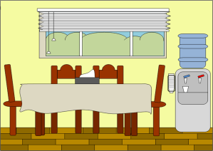 clipart cartoon diningroom table kitchen bedroom background parts cliparts dining setting clip dinning dinner vector domain illustration