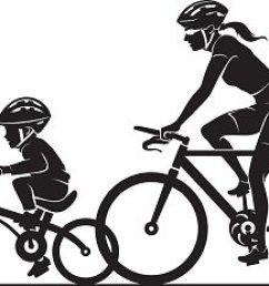 family bike ride clipart silhouette [ 1500 x 1109 Pixel ]