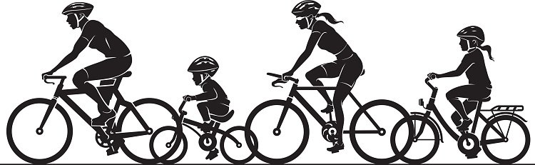 hight resolution of family bike ride clipart silhouette