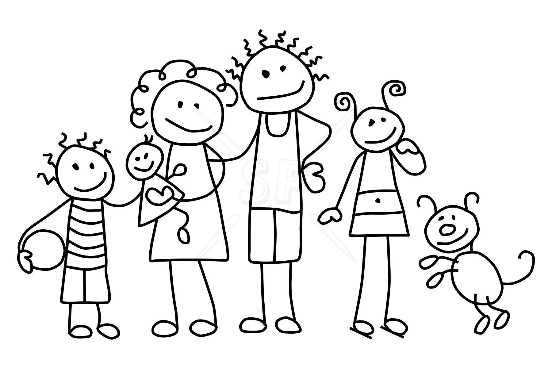 hight resolution of family black and white clipart