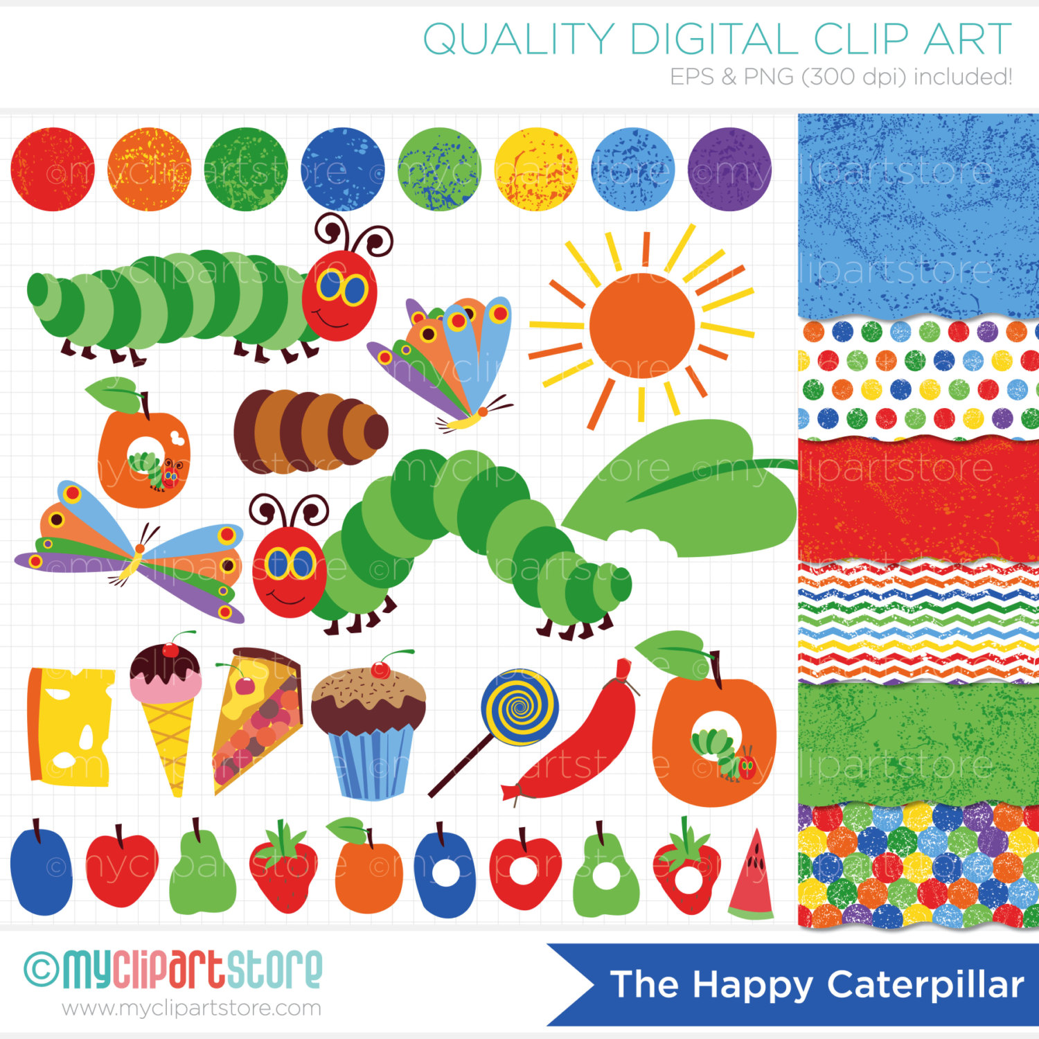 Hungry Caterpillar Butterfly Clipart