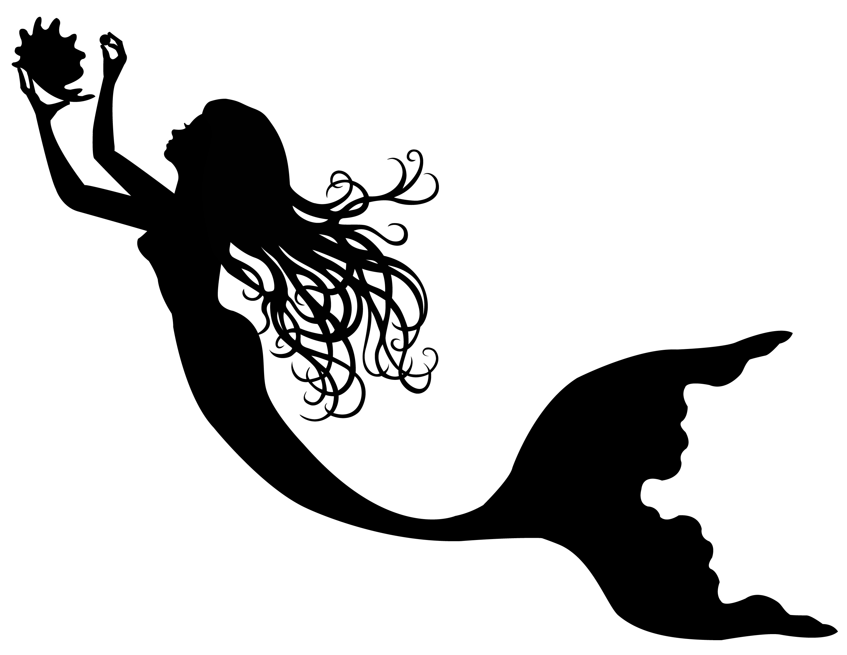 free mermaid outline cliparts