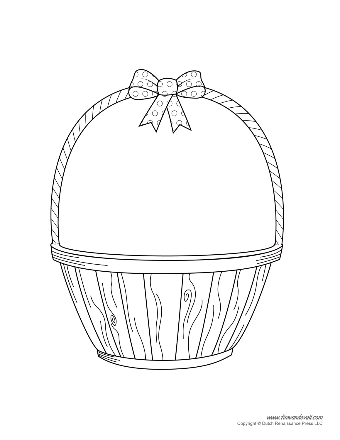 Easter Basket Black And White Clipart