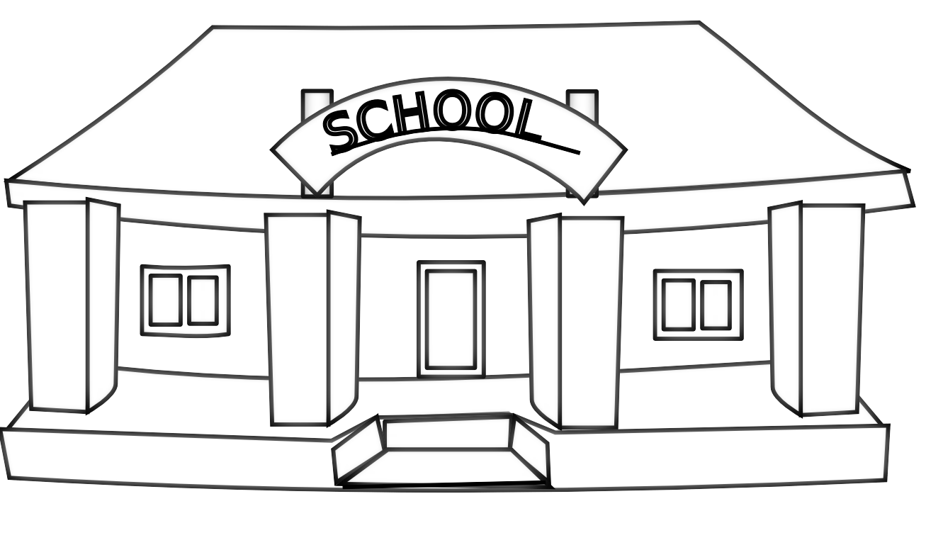 School Building Black And White Clipart