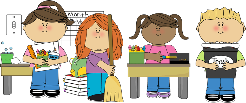 Children Cleaning Classroom Clipart