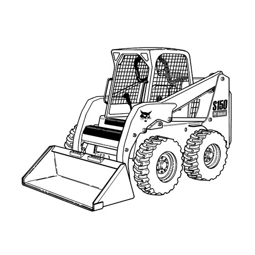Bobcat Skid Steer Loader Clip Art Sketch Coloring Page