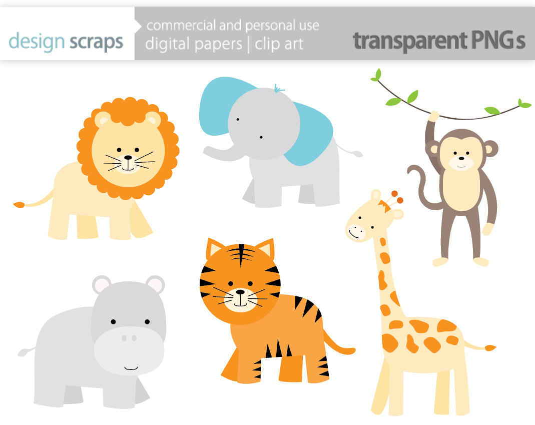 hight resolution of baby safari animals clipart