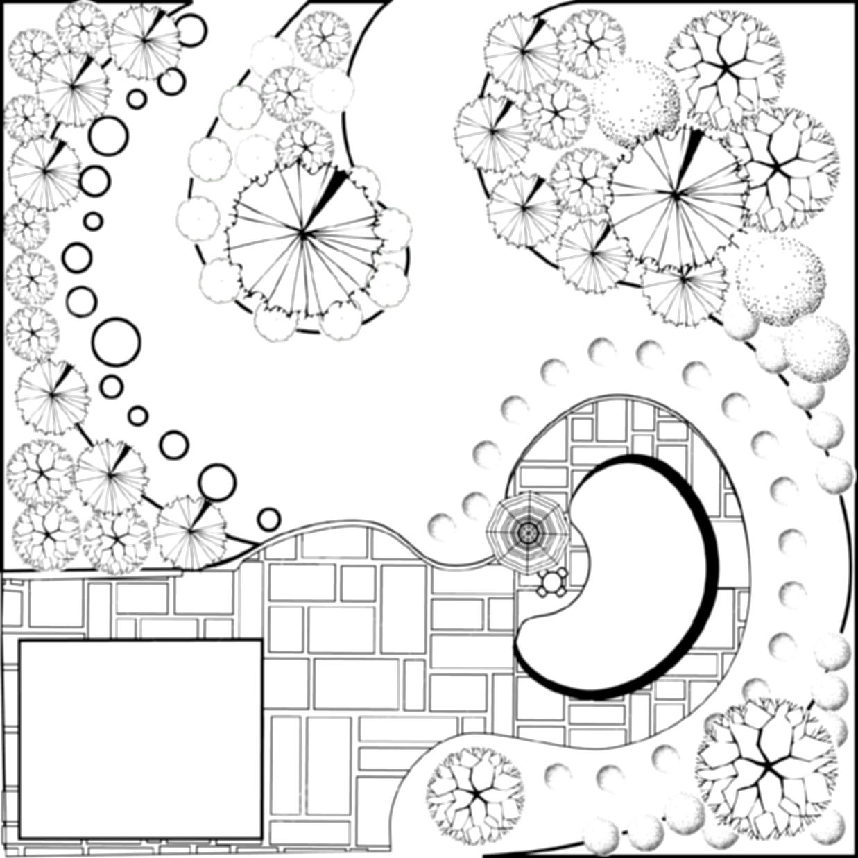 Landscape Drawing Black And White Clipart