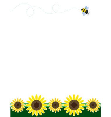 single sunflower borders clipart