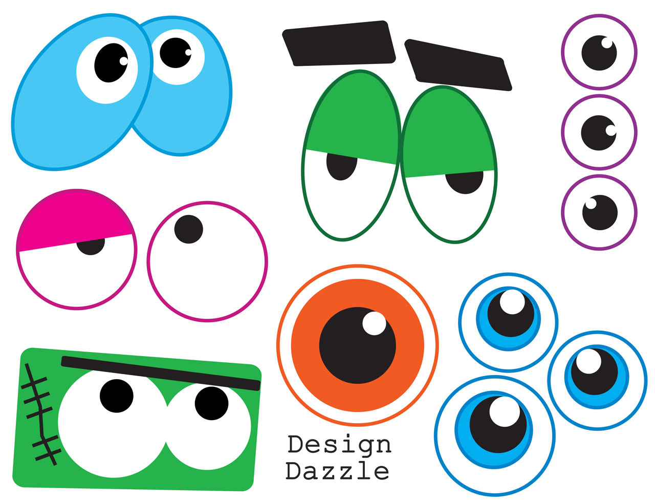 hight resolution of funny monster eye face clipart