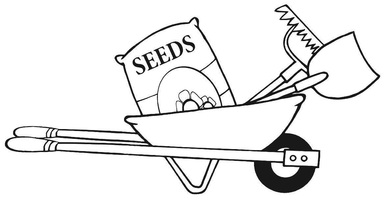 Garden Wheelbarrow Outline Gardening Clipart Black And