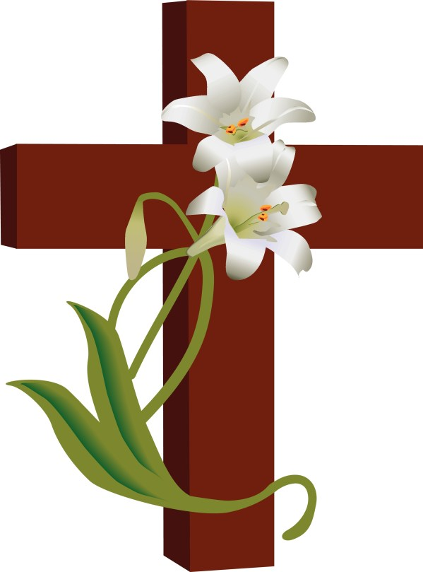 Cross with Easter Lilies Clip Art