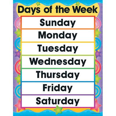 days of week calendar