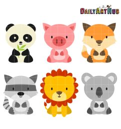 baby safari animals clipart baby [ 2664 x 2670 Pixel ]