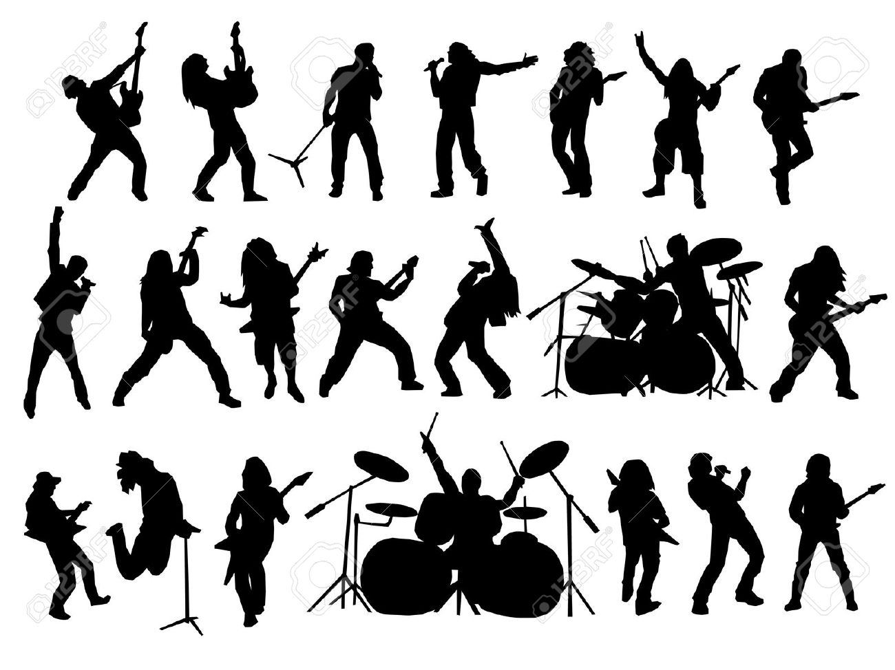hight resolution of rock band silhouette clipart