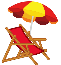 beach chair and umbrella free clipart [ 4503 x 5228 Pixel ]