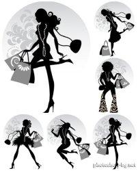 cartoon woman holding shopping bags Clip Art Library