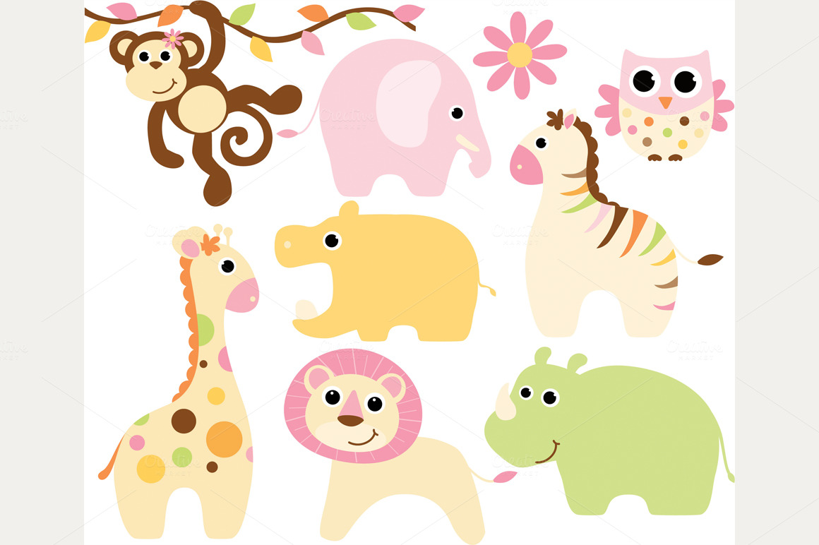 hight resolution of cute safari baby animal clipart baby