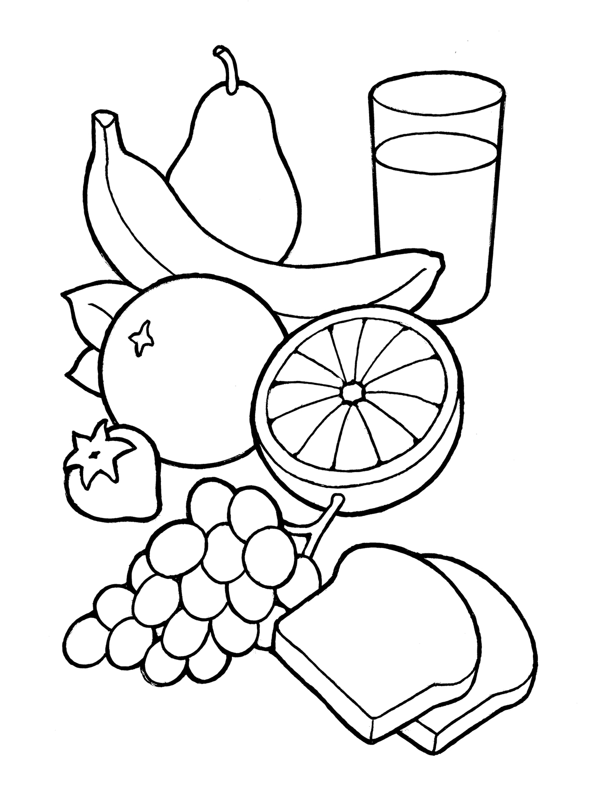 Healthy Food Black And White Clipart
