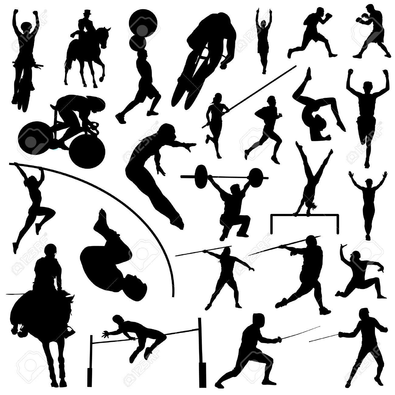 hight resolution of sports clipart black white olympic