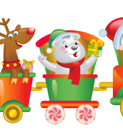 transparent christmas santa train png clipart [ 6034 x 2277 Pixel ]