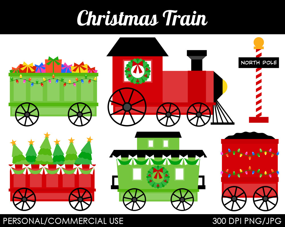 hight resolution of christmas train free clipart