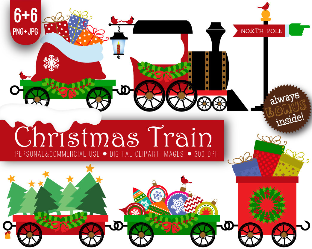 hight resolution of christmas train clipart free