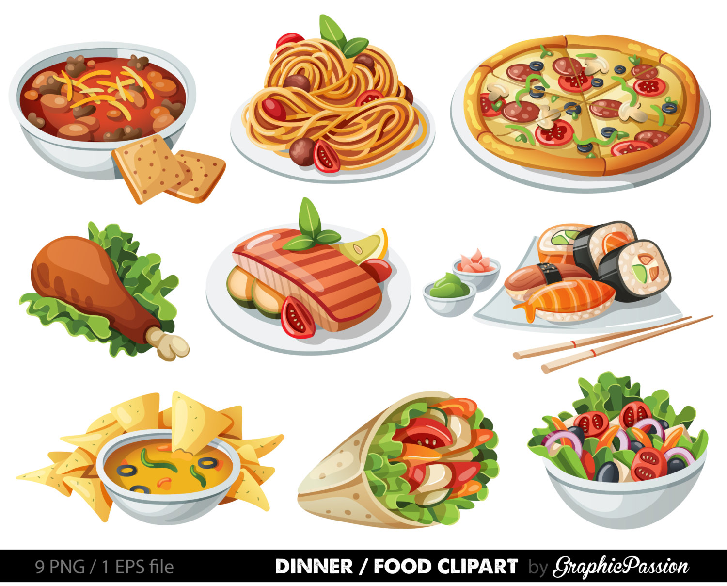 hight resolution of banquet food clipart