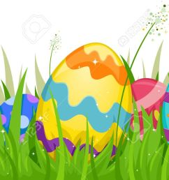 easter grass and eggs clipart [ 1300 x 661 Pixel ]
