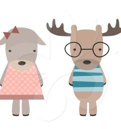 christmas moose clipart cute [ 1021 x 865 Pixel ]
