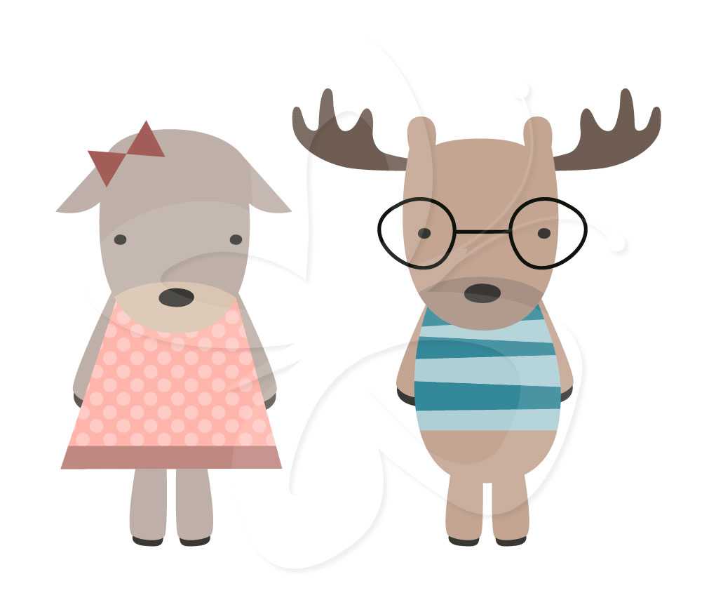 hight resolution of christmas moose clipart cute