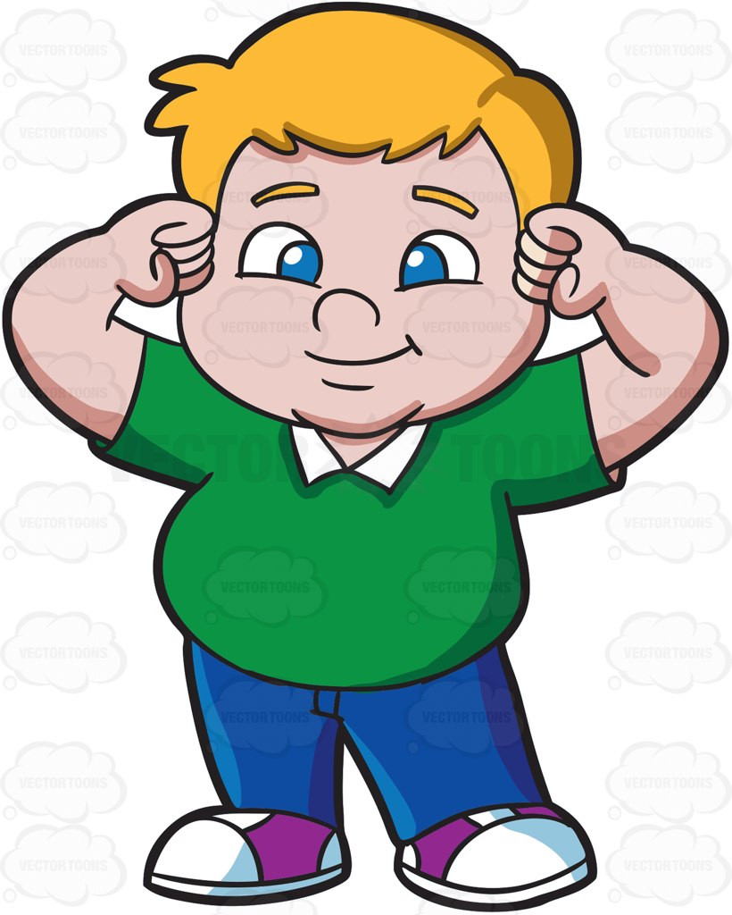 hight resolution of a strong fat male kid cartoon clipart