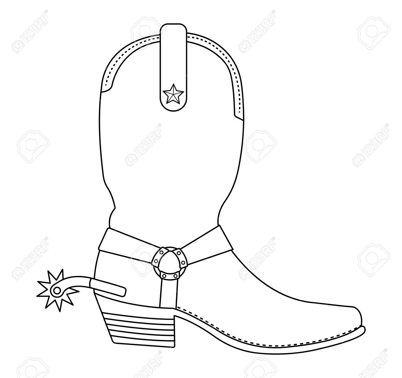 34 Cowboy Boot Outline Clip Art