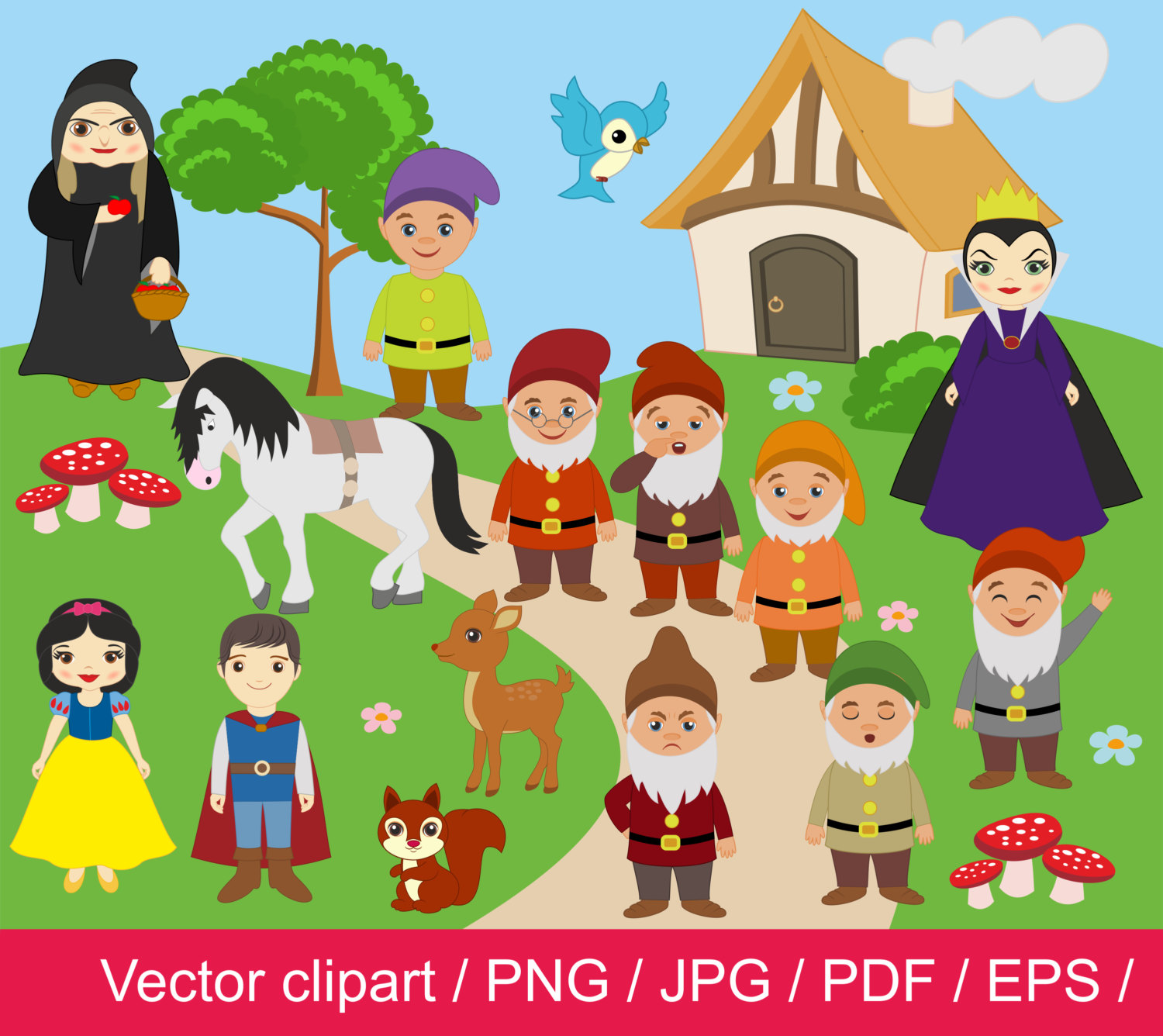 hight resolution of snow white clipart