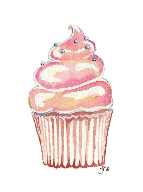 free watercolor cupcake cliparts