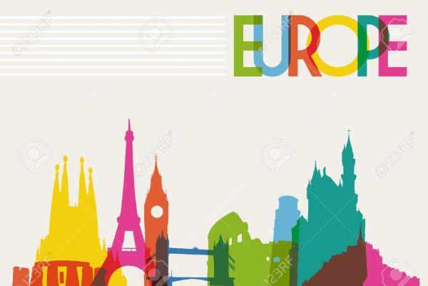 Europe Travel Clip Art Illustrations