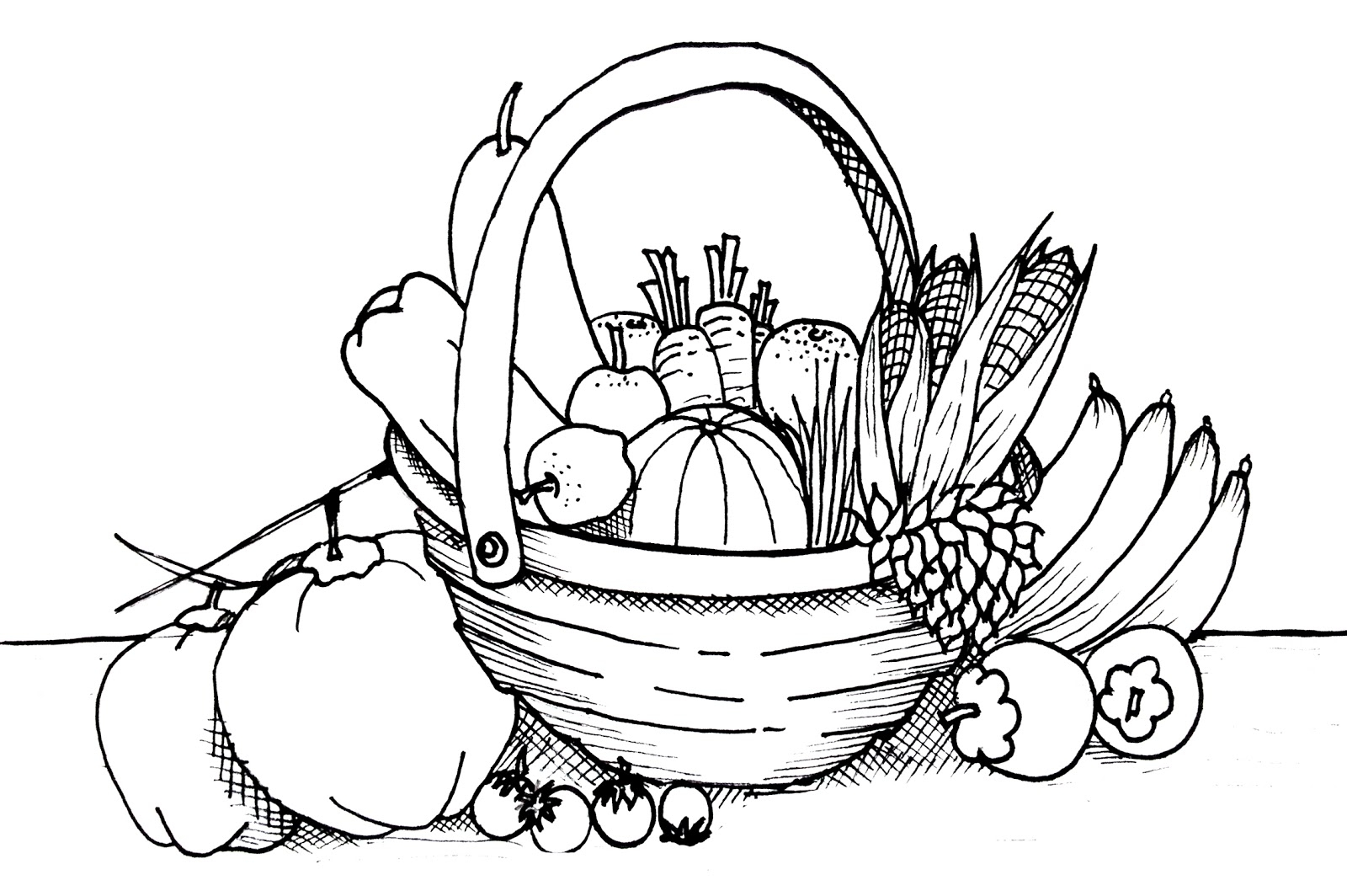 Basket Of Fruits And Vegetables Clipart Black And White